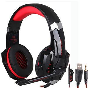 Black&Red Gaming MIC LED Light Headset Headphone For 3.5mm