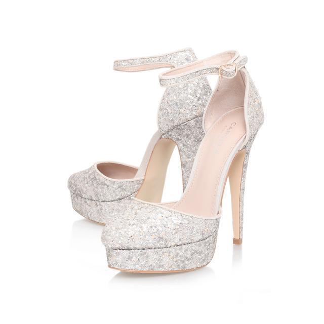 CARVELA SILVER ANKLE Schuhe .. GLITTER .. ANKLE SILVER STRAP / STILETTO /  UK 8   EU 41 .. NEW 0112e1