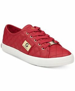 4f93bbaf477c Details about G by Guess Women s Backer2 Lace Up Leather Quilted Pattern Sneakers  Shoes Red