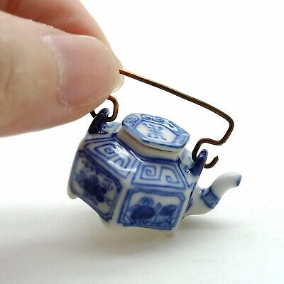 Teapot Dollhouse Miniature Ceramic Chinese Porcelain Painted TP008