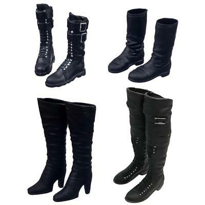 2 Pairs 1//6 Scale Long Boots Shoes Fit For 12 inch Male Figure Body Black