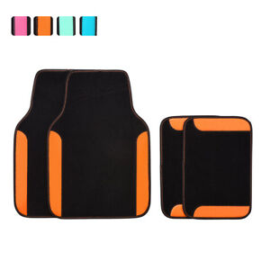 Car-Floor-Mat-Universal-Orange-Black-For-Women-Girls-Honda-Hyundai-Toyota-4-PCS