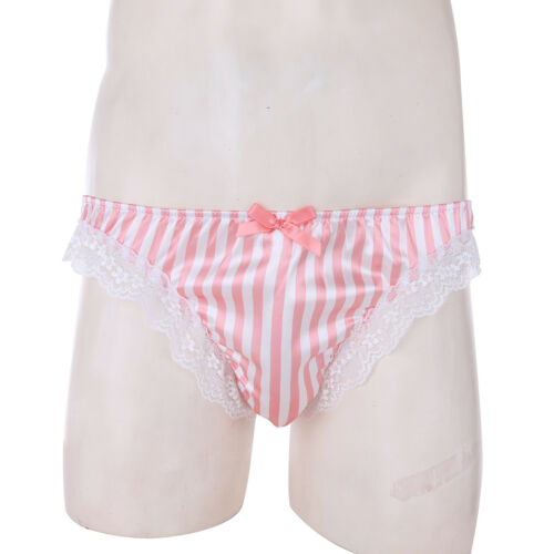 UK Men/'s Sissy Satin Briefs Ruffle Bikini Lace Underwear Shorts Panties Lingerie