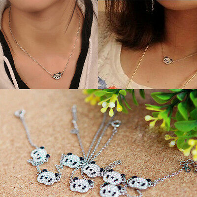 Precious Lovely Glitter Rhinestone Panda Cute Necklace Chain for Valentine Gift