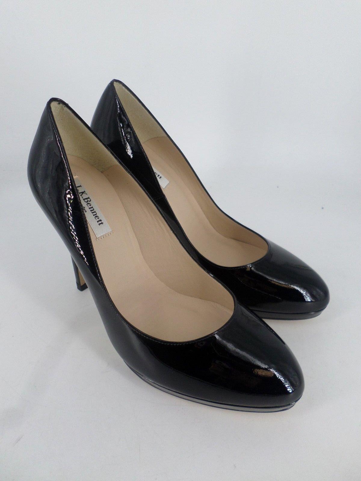 L.K. Bennett Sledge Plateforme Cour Chaussures Noires Vernies UK 7.5 EU 40.5 LN34 65