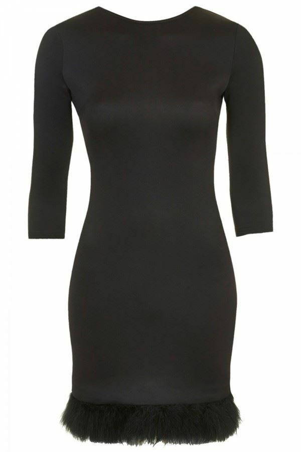 Ex Topshop Feather Hem Bodycon Dress (Tops, skirts, shorts)