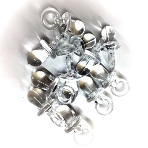 Baby Showers Pram Charms Dummy Pendants 31mm 25 X CLEAR Dummy Charms