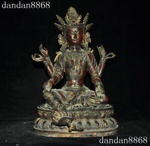 Old Tibetan Buddhism Bronze Kwan-yin green Tara Buddha Statue