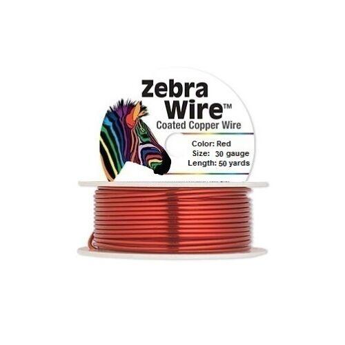 Zebra Coated Copper Wire Red 30 Gauge 50 Yards