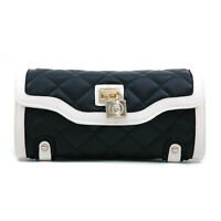Women's Classic Quilted Two-tone Clutch Wallet /bonus Wrist Strap And Lock-black
