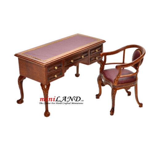 chair Quality office Dollhouse miniature walnut Leather top Captain's Desk