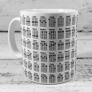 Details About Brand New Ukulele Chords Chart Mug Cup Soprano Tenor Uke Present Fantastic Gift