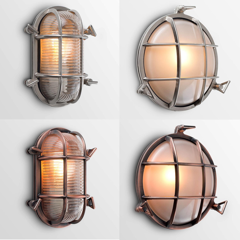 Details About Nautical Outdoor Garden Bulkhead Wall Lights Copper Aluminium Ip64 4w Bulb