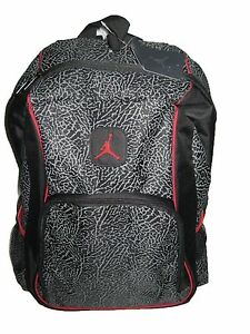 Nike Air Jordan Jumpman 23 Backpack 9a1223 391 Black Red Cement Elephant  Print 3e62aa92fa841