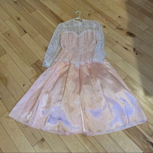 Gunne Sax Vintage Pink White Lace Maxi Dress 13