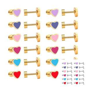 Heart-Studs-Earrings-Stainless-Steel-Gold-Plated-Silver-Earrings-Ladies-Gift