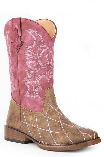 Roper  ld's Girls PINK Cross  Cut Brown Vamp Pink Embroider Cowboy Boots SALE    everyday low prices
