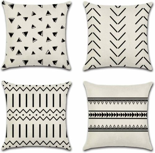 Geometric Cotton Linen Home Decor Throw Pillow Covers 18x18 Inch Set of 4