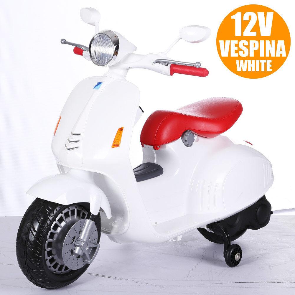 Moto Elettrica per bambini Vespa VESPINA 12V Completa di Luci Suoni Color Bianco
