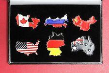 Somalia 2013 Australia Germany Canada China Russia USA enamelled Map Flag $ Coin