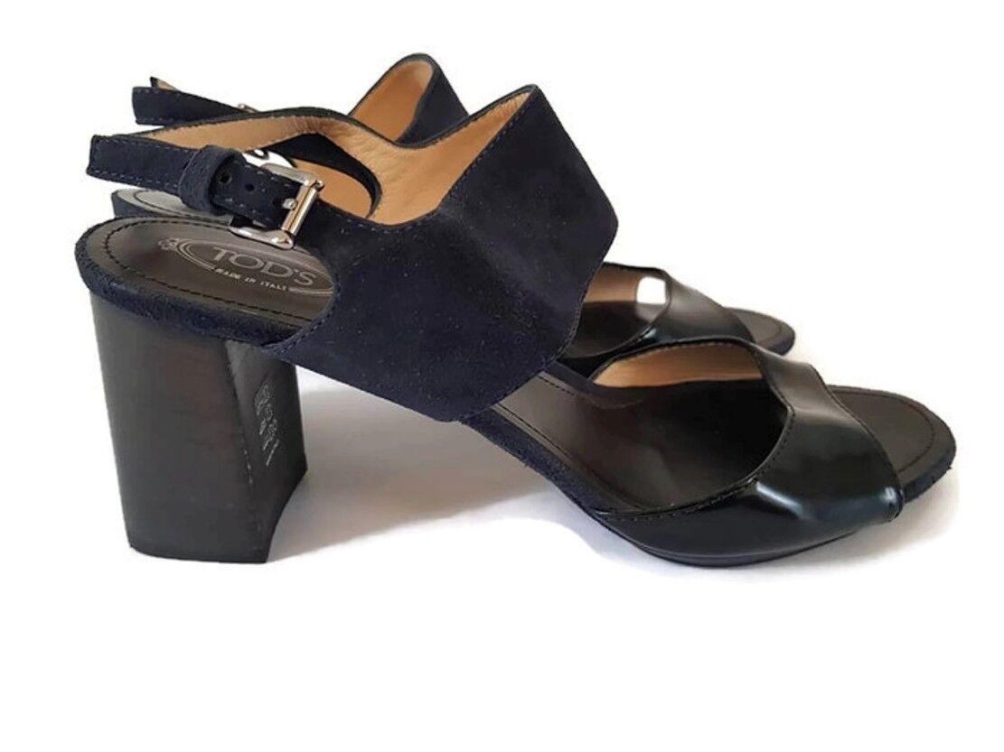 in cerca di agente di vendita Tods Donna block heel navy suede suede suede nero patent leather sandals, us 9, uk 6.5, eu  risparmia fino al 70%