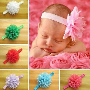 Newborn-Baby-Girl-039-s-mousseline-Fleur-Bandeau-Bebe-Elastique-Bandeaux