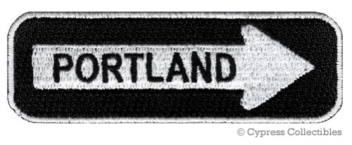 PORTLAND ONE-WAY SIGN EMBROIDERED IRON-ON PATCH applique OREGON SOUVENIR ROAD