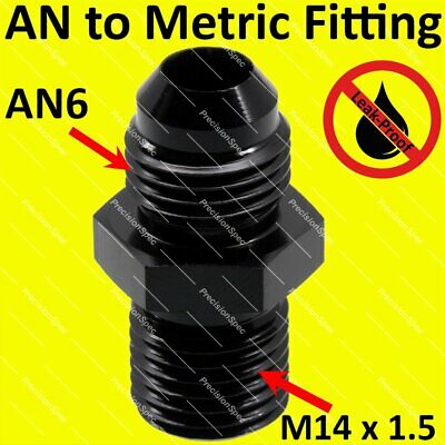 6AN AN-6 TO M14*1.5 NPT Male Thread Aluminum Anodized Fitting Adapter BLACK