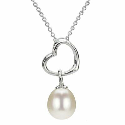 Pearl Pendant Sterling Silver Necklace 8-9mm White Freshwater Pearl 18''
