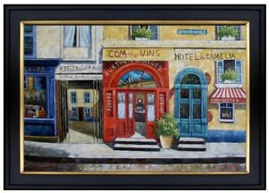 Framed Hand Painted Oil Painting Storefront with Red and Blue Doors 24x36in