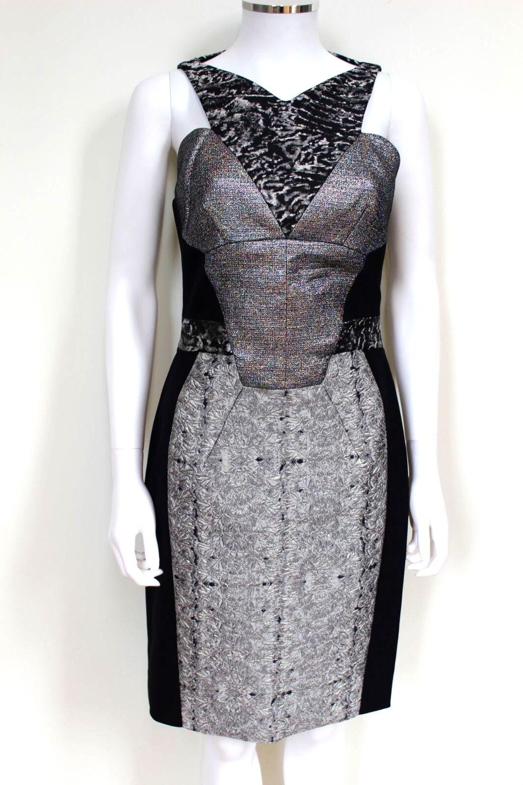 New Antonio Berardi Metallic Silber Combo Body-Con Dress 42 uk 10