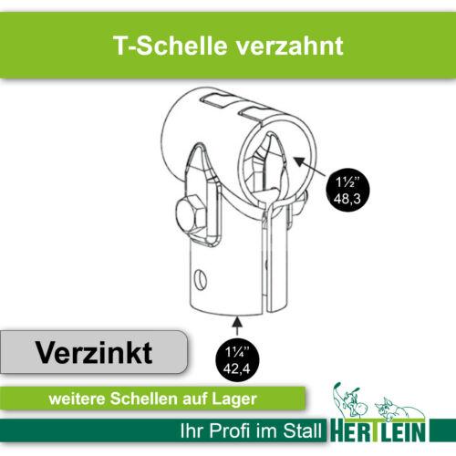 """48,3 x 42,4 verzahnt T-Schelle 1 1//2/"""" x 1 1//4/"""""""