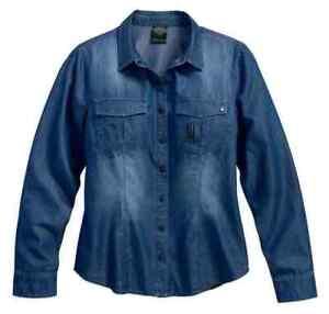 Harley-Davidson Women's Black Label Core #1 Skull Denim Shirt, Indigo 99188-17V