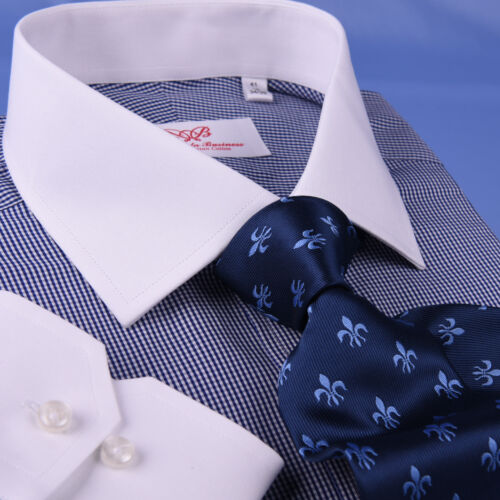 Navy Blue Mini Check Contrast Business Dress Shirt Mens Smart Checkers Style Top
