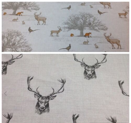 Fryetts TATTON//STAG Cotton Fabric Curtains//Upholstery//Crafts 1//2 METER LENGTH