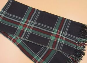 "Vintage Brown Red Green Plaid WOOL Throw Good For Upcycle Repurpose 52"" x 62"""