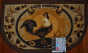 Details about Country Rooster Kitchen Mat~Good Morning~Sunflower  Gold~Brown~Bath~Slice Rug~NEW