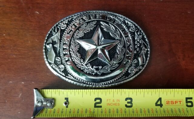 The State Of Texas Antique Brass Color Texas Seal Logo Western Belt Buckle