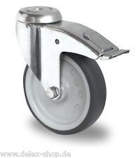 Apparaterolle Gummi grau spurlos 100 mm Bremse Rückenloch Rolle Transportrolle