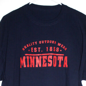 Quality-Outdoor-Wear-Minnesota-Mens-2XL-T-Shirt-Dark-Blue-Short-Sleeves