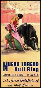 "Canvas Art Poster 12/""x 24 Pamplona Running of the Bulls Vintage Poster #5"