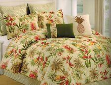 Martha Stewart King Birds of Paradise Oahu Comforter Ivory Green Red MSRP $360