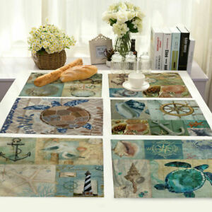 Aquatic-Creatures-Insulation-Cotton-Linen-Placemat-Dining-Table-Mat-Home-Kitchen