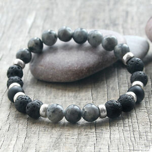 Mens Lava Rock Labradorite Stone Diffuser Essential Oil Beaded