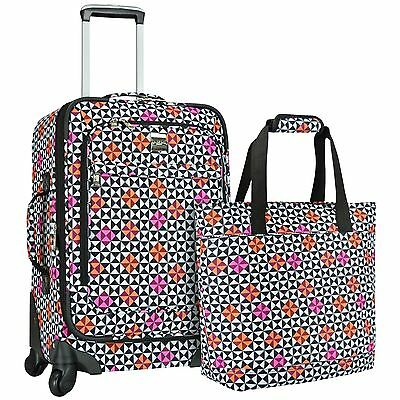 US Traveler Langford 2pc Ladies Carry-on Spinner & Casual Tote Bag Luggage Set