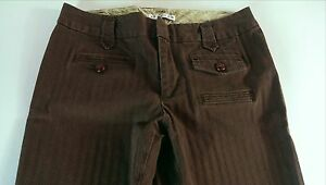 GAP-Stretch-Brown-Casual-Pants-Womens-SZ-6-8-Big-Buttons-32-x-31-Actual-Striped