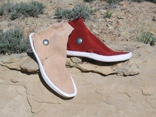 BIG Uomo KAIBAB STYLE Red,Sand NAVAJO 1 BUTTON MOCCASINS / EARTHING SHOES