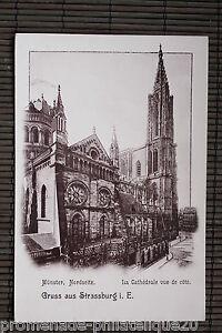 Tarjeta-postal-antigua-MUNSTER-La-catedral-de-vista-de-cote