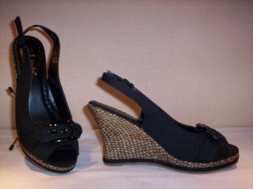 Scarpe sandali Linda donna shoes spuntate zeppa alta plateau tela 35 37 39 40