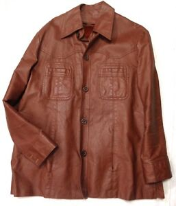 ebc68158e Details about Vintage Sears Western Outdoor Wear Brown Leather Jacket Coat  Womens L #A11